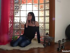Smoking attractive slutty girl film herself