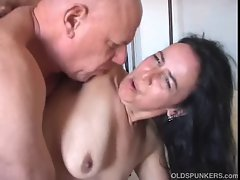 Chunky older young woman delights a rough screwing and has a big older