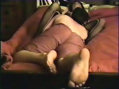 Shy wife fucking in fishnet catsuit hidden camera home video