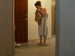 Innocent towel drop