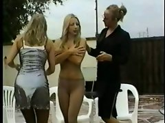 Karen White pantyhose stripped off and pied