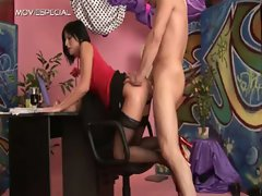Whore in stockings gets pissed