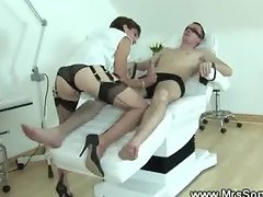 Slave gets his dick rubbed by dominain a denstists chair