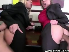 Hot milf babes getting anally fucked by two lucky guys
