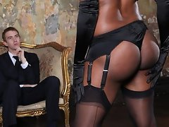 Horny perky-tit black doctor slut in lingerie fucks hard big-dick