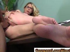 Nasty interracial cougar gets big cock