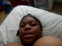 BBW ebony with huge juggs films herself