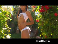 Czech teen Kiki18 masturbating in beautiful rose garden