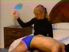Man spanked in panties by cute blonde