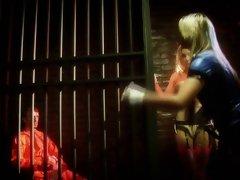 British blonde slut in FFM threesome in jail