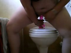 bbw rides a  pink dildo