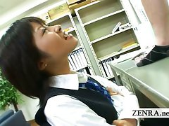 Dominant Japan office lady teases CFNM