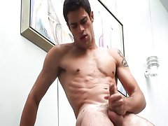Ripped boy wanking cock for milk