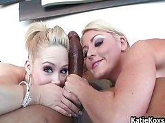Two big tit pornstars sucking off cock