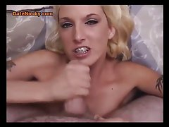 Blonde With Braces Gives Head
