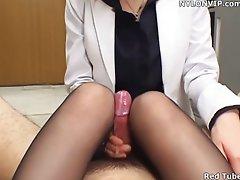 office lady handjob nylon footjob pantyhose