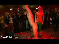 Bound gay dick jerked off at Xmas party