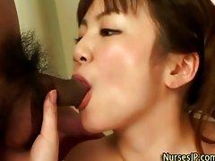 Japanese horny nurse rimjob