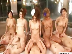 Japanese teen coordinated cowgirl orgy