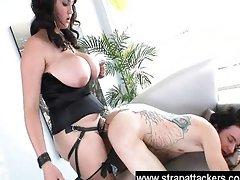 Fat strapon babe dominates