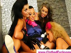 All girl foursome use magic wand vibrator