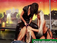 Strapon sadistic girls punish man