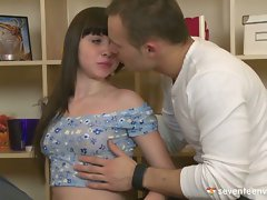 Hot young couple kissing in softcore video