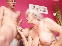 Horny granny fucked by young dude