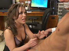 Gorgeous dommie sucks and jerks cock of man strapped to chair