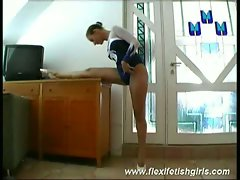 Flexible brazilian teen ballerina seductive stretching