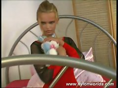 Teen german nylon blonde chick strips to bare boobs