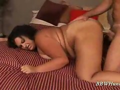 Brunette bbw fucked hardcore in her fat pussy
