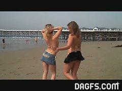 Horny babes having fun at the beach