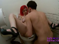Horny big tits punk babe drilled hard in filthy bathroom