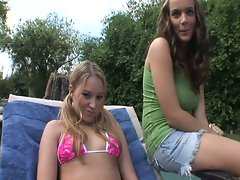 Lovely lesbian teens have some pussy fun by the pool