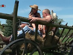 Hot and sexy farm girl sucks on a hard and horny cowboy cock