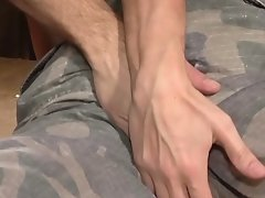 Army men have bareback sex after a hard day of duty