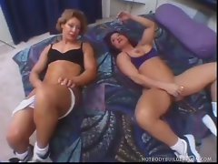 April t and kazanna use tongues on toys on pussy