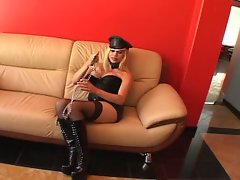 Sexy blonde shemale solo scene
