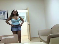 Busty ebony bitches team up on a white cock