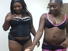 Three busty ebony sluts attack a cock and each other
