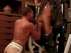 Hard gay soldier banging a colleague's ass