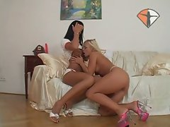 Gorgeous burnette and blonde babe with dildo fun