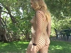 Sweet blonde teen wrapped in fishnets enjoying huge boner