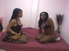 Alluring ebony lesbians sweet pussy toying fantasy for you