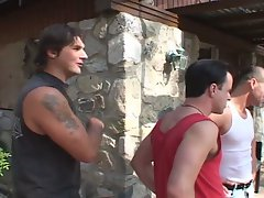 White washed gangbang on a ebony and drilled very hard in outdoor