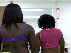 Two black young girls sucking a white hard lucky dick