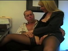 The hot blonde shemale drilled by another white dick and she dominate