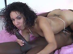 Pretty ass brunette slut bends hard for monster black cock