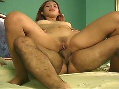 Cute redhead latina gives cumming orgasm